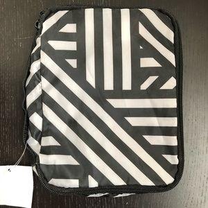Sephora black & white striped makeup bag w/ handle